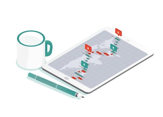태블릿 pc와 세계지도 장식 구성
