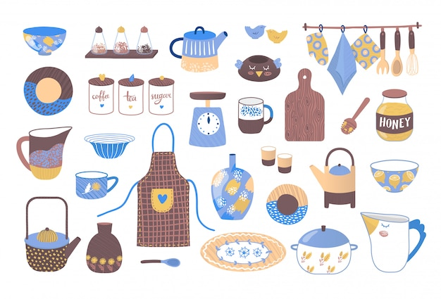 Decorative cookware utensils for cooking, collection of ceramic kitchen crockery illustration.