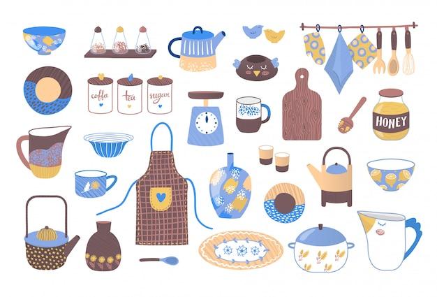調理、セラミックキッチン食器イラストのコレクションのための装飾的な調理器具。