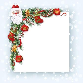 Decorative corner with christmas stockings and santas head