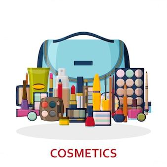 顔、唇、肌、目、爪、眉毛、ビューティーケース用の化粧品。背景を構成します。フラットアイコンのコレクション。図。