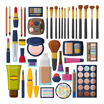顔、唇、肌、目、爪、眉毛、ビューティーケースの化粧品。化粧
