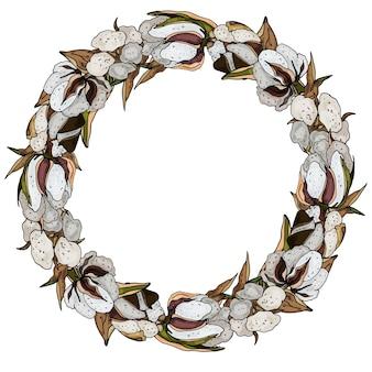 Decorative cotton wreath cute greeting card wedding invitation birthday easter