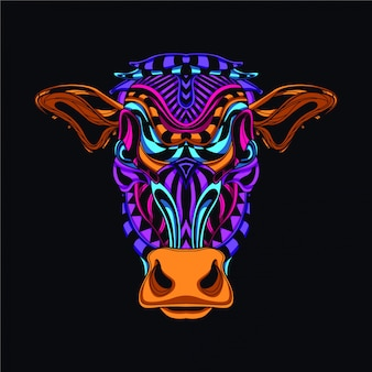 Decorative cow head in glow neon color
