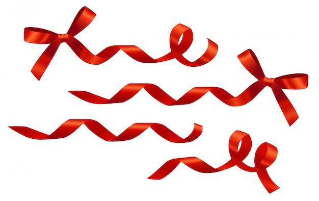 装飾的なカールした赤いリボンと弓がセットされています。バナー、ポスター、チラシ、パンフレット