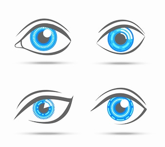 Decorative cyber robot digital look vision optic eyes set isolated vector illustration