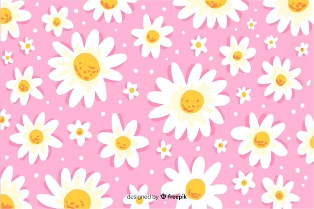 Decorative daisies background watercolor style
