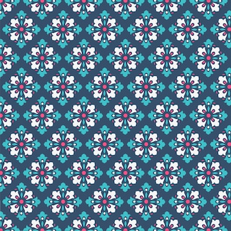 Decorative damask pattern background with cool blue and green color for tile fabric and texture