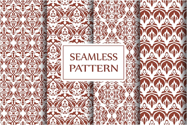Decorative damask pattern set. vintage ornament, baroque flowers and silver venetian ornate floral ornaments seamless background