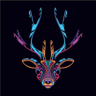 Decorative deer head from neon color