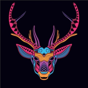 Decorative deer head in glow neon color