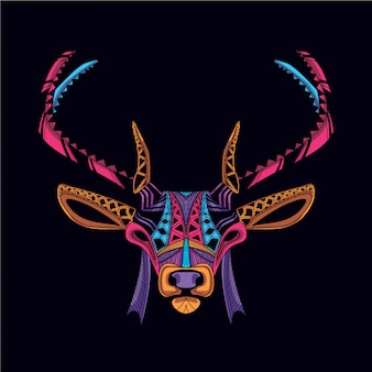 Decorative deer head on glow neon color