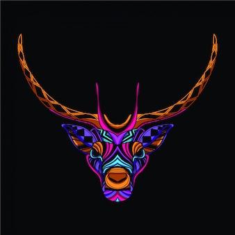 ネオンカラーの装飾的な鹿
