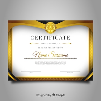Decorative diploma template with golden elements