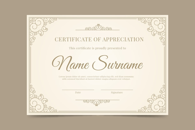 Decorative diploma template