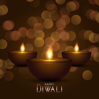 Sfondo decorativo diwali con lampade a olio e design luci bokeh
