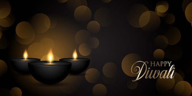 Decorative diwali banner design with oil lamps and bokeh lights