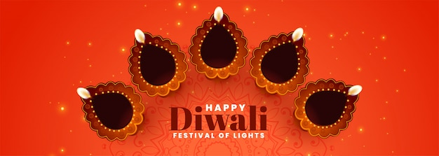 Decorative diya for diwali festival banner