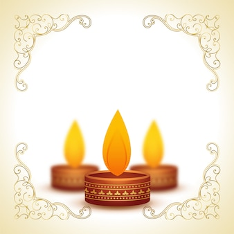 Decorative diya lamps for diwali and text space