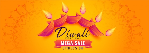 Decorative diya yellow diwali sale banner