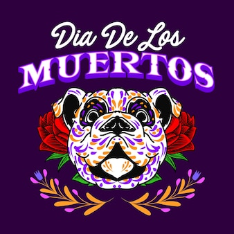 Decorative dog head day of the dead mexico illustration