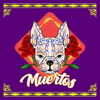 Декоративная голова собаки день мертвых мексика иллюстрация