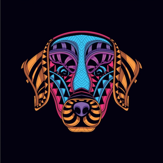 Decorative dog head from glow neon color