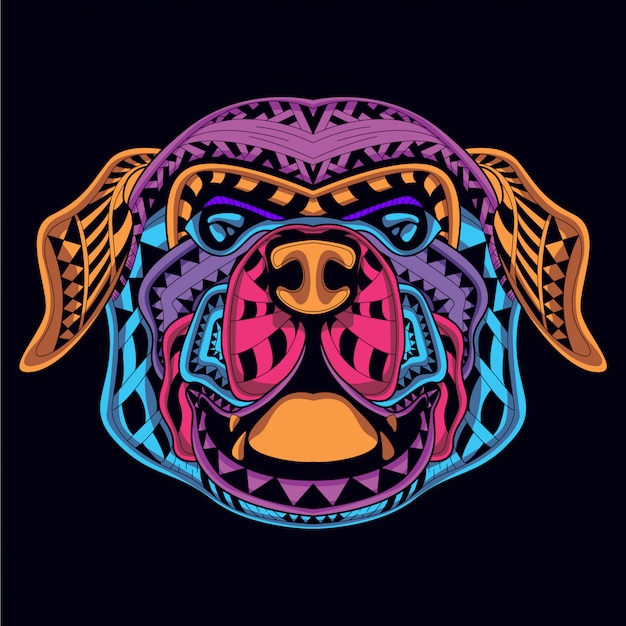 Decorative dog head from neon color