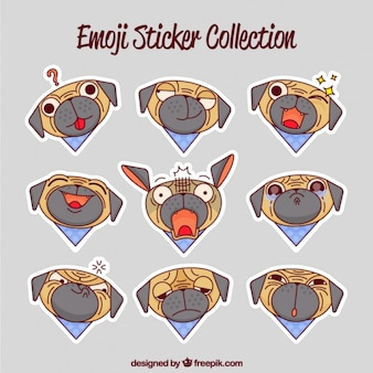 Decorative dog stickers with different facial expressions