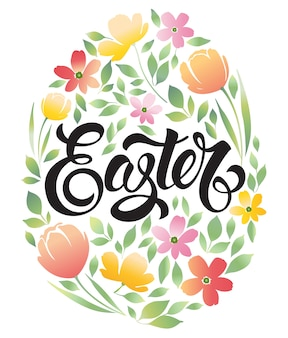 Decorative doodle frame easter eggs and floral ornament elements. easter greeting card.