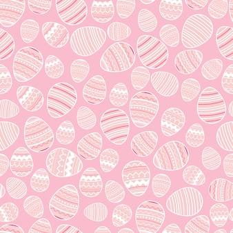 Decorative easter eggs seamless pattern on pink background.