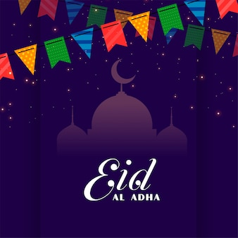 Decorative eid al adha festival greeting