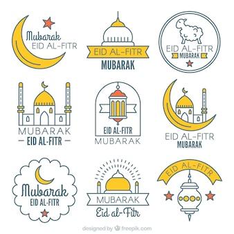 Decorative eid al fitr stickers set