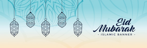 Decorative eid festival lamps banner