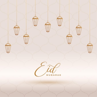 Lanterne decorative eid mubarak card design