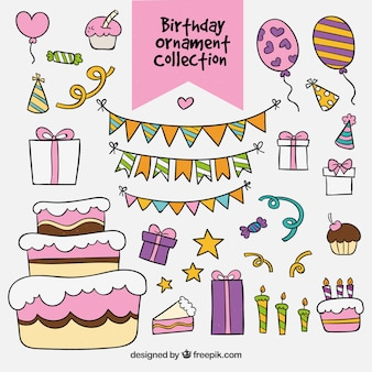 Decorative elements with cake and gifts