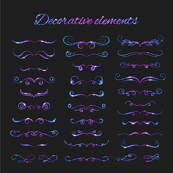 여러 가지 빛깔의 디자인 장식 요소