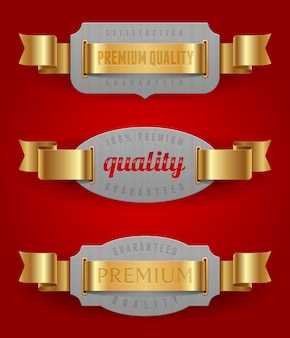 Decorative emblems of quality with golden ribbons -  illustration