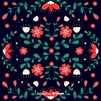 Decorative embroidery mexican floral background