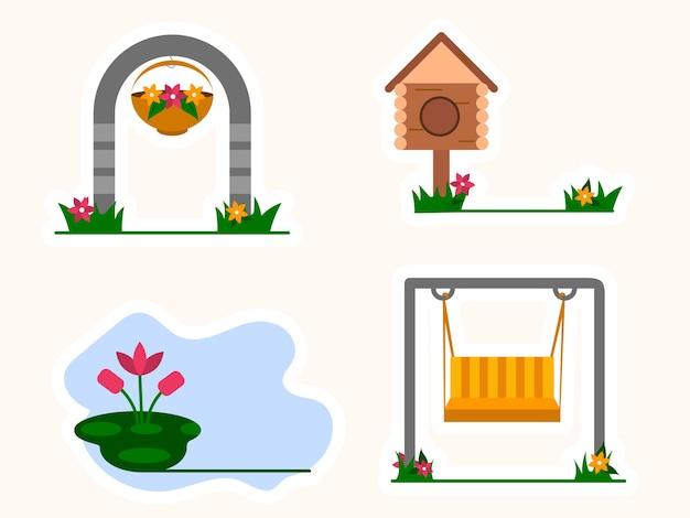 白い背景の上の鳥の家とガーデニングビューと装飾的な入り口のゲート。
