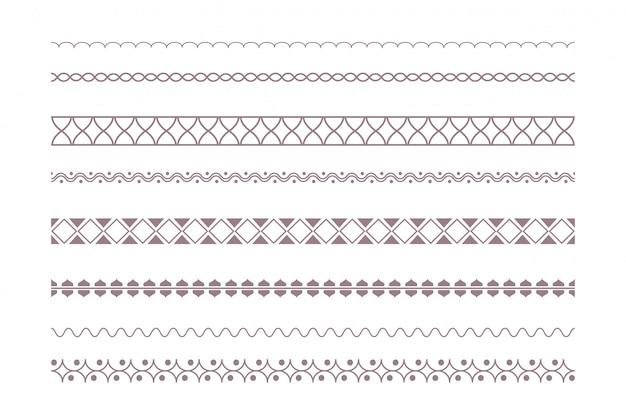 Boho 스타일로 설정된 장식 민족 테두리