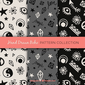 Decorative ethnic patterns with hand-drawn elements