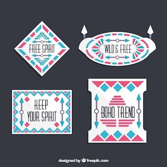 Decorative ethnic stickers in flat design