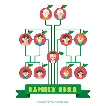 Decorative family tree in flat design
