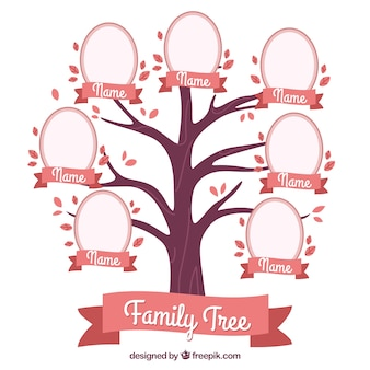 Decorative family tree in pink tones