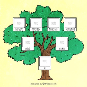 Decorative family tree with space for photo