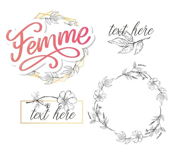 Декоративный женский текст надписи каллиграфия цветы кисть слоган