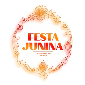 Decorative festia junina floral sunflower frame background