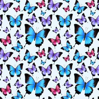 Decorative festive trendy colorful butterflies seamless pattern vector illustration.