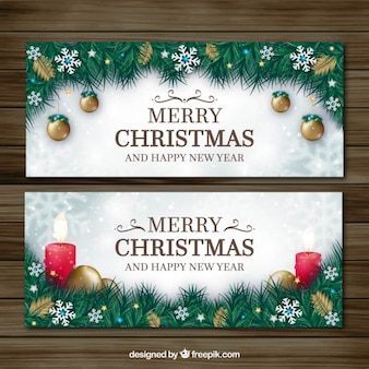 Decorative fir leaves banners and christmas ornaments